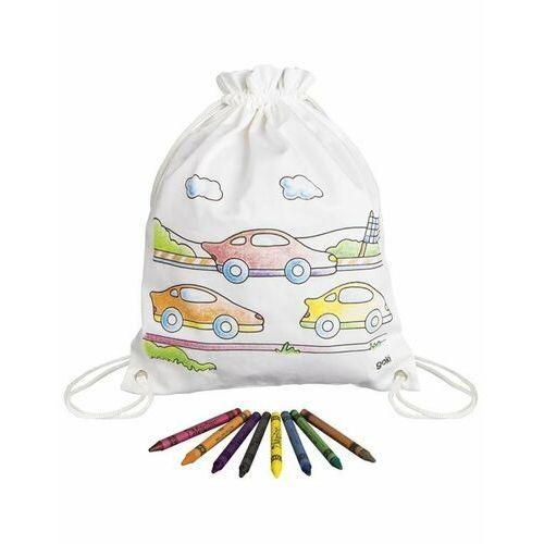 Goki® - bawełniany worek szkolny z autami + kredki, goki (4013594587433)