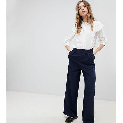 ASOS DESIGN Petite wide leg trousers with pleat detail - Navy, kolor szary
