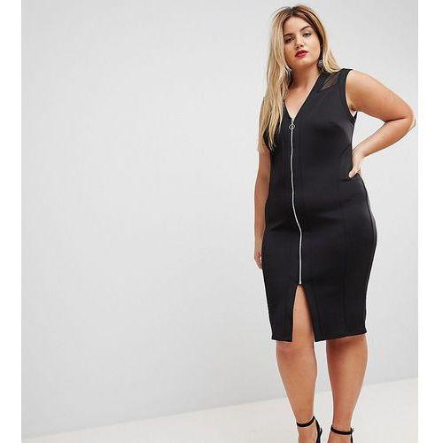 mesh insert bodycon zip midi dress - black, Asos curve
