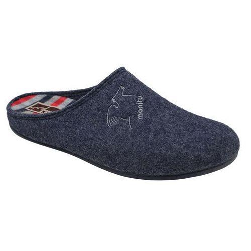 Kapcie MANITU 220263-5 Granatowe Pantofle domowe Ciapy zdrowotne - Granatowy