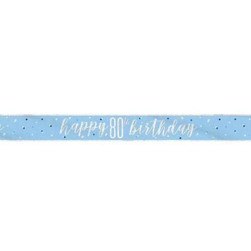 Baner happy birthday niebieski na 80 urodziny - 274 cm - 1 szt. marki Unique