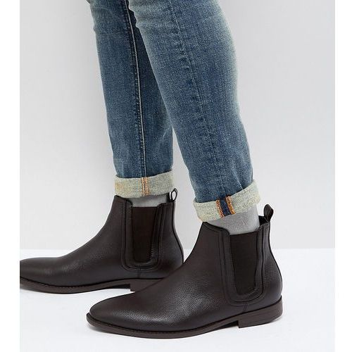 design wide fit chelsea boots in brown faux leather with panel detail - brown, Asos