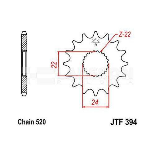 Zębatka przednia JT F394-15, 15Z, rozmiar 520 2201338 Aprilia Tuareg 125, RS 125