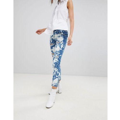 Glamorous Bleach Splat Ripped Boyfriend Jeans - Blue, w 2 rozmiarach