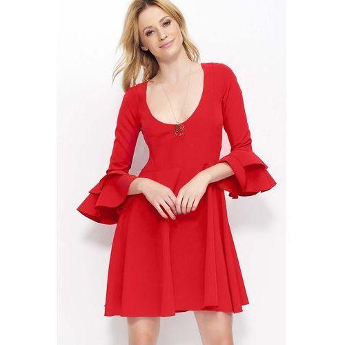 Czerwona Krótka Rozkloszowana Sukienka z Głębokim Dekoltem, w 4 rozmiarach