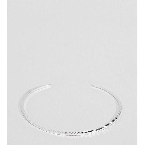 ASOS DESIGN Curve Sterling Silver Etched Cuff Bracelet - Silver