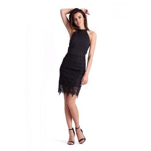 c125331d6c Czarna Ołówkowa Sukienka z Gipiurą 238