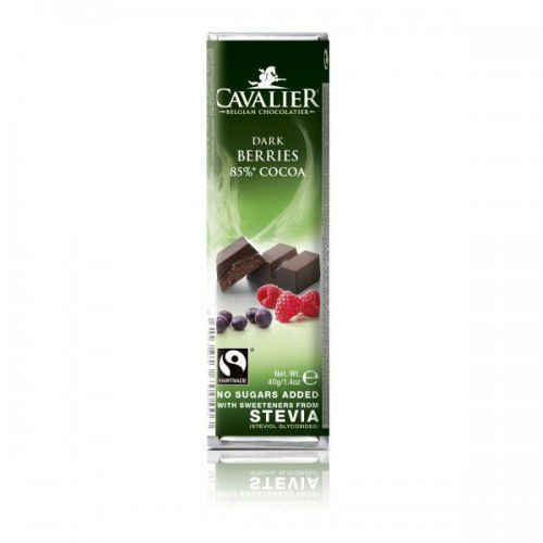 Cavalier baton z czekolady deserowej z owocami le śnymi i stewią 40g, 5413623700403