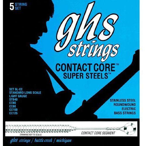 Ghs contact core super steels struny do gitary basowej, 5-str. light,.040-.125