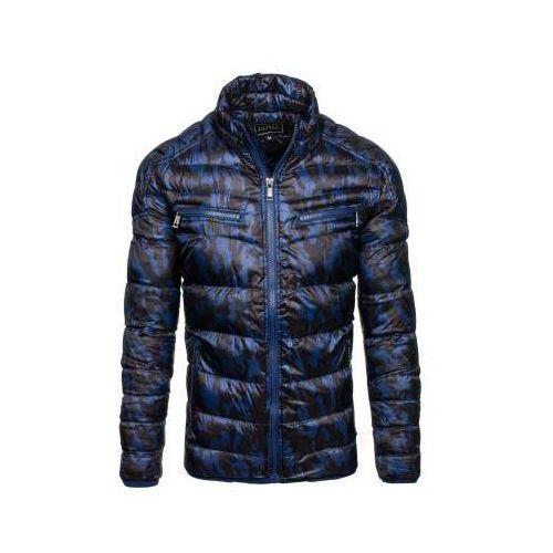 Kurtka męska zimowa sportowa moro-granatowa Denley 3156, kolor niebieski