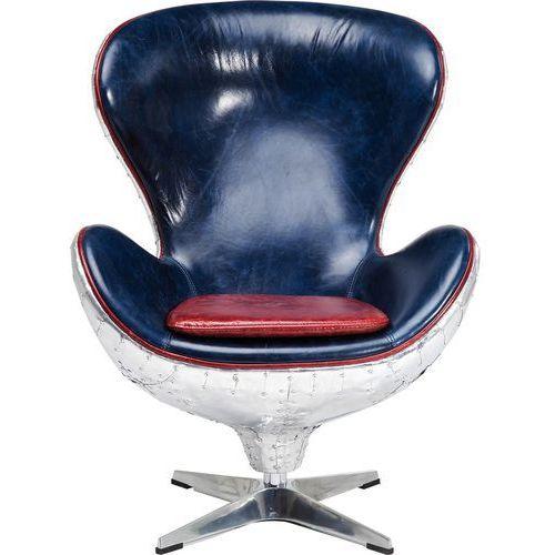 Soho Big Boss Fotel Srebrno Niebieski Aluminium Skóra Naturalna Wołowa - 78941, marki Kare Design do zakupu w sfmeble.pl