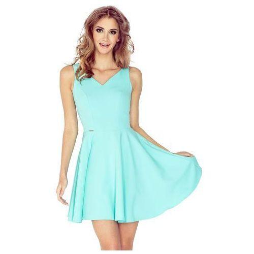 30322cb2a8 Miętowa sukienka z dekoltem w kształcie serca