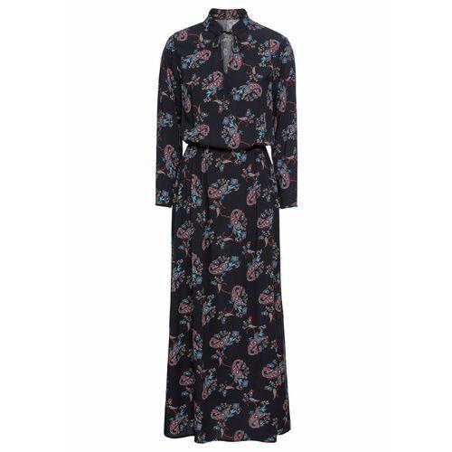 Bonprix Sukienka maxi w deseń paisley czarno-czerwony paisley