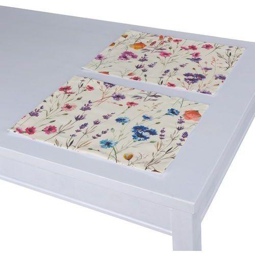 Dekoria Podkładka 2 sztuki, kolorowe kwiaty na kremowym tle, 30 × 40 cm, Flowers