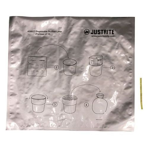 Justrite Specjalne worki na odpady, z powłoką aluminiową, opak. 50 szt, do bezpiecznych p