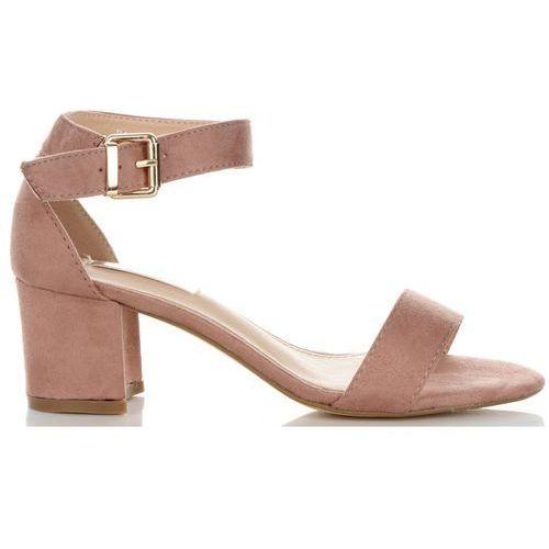Wygodne sandały damskie na szerokim obcasie marki bellucci różowe (kolory), Belluci