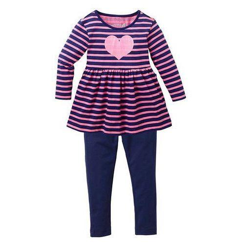 Sukienka + legginsy (2 części) bonprix jaskrawy jasnoróżowy - kobaltowy w paski (sukienka dziecięca)