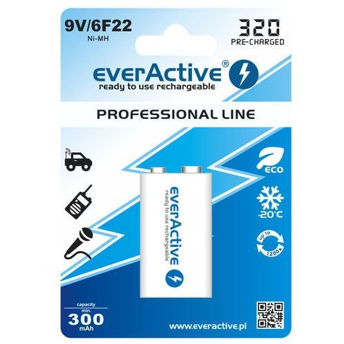 "everActive 6F22/9V Ni-MH 320 mAh ready to use ""Professional line"""
