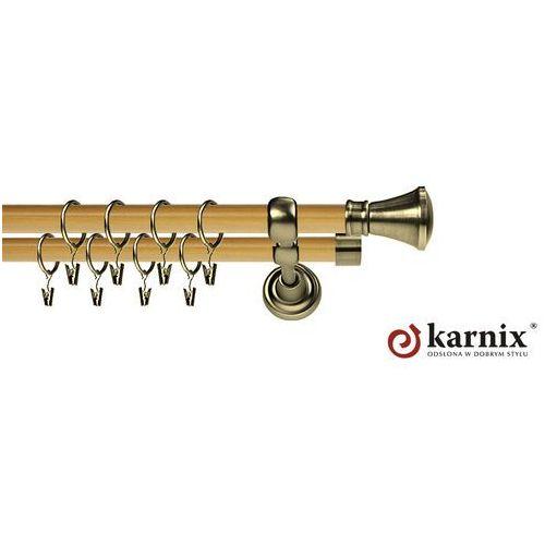 Karnisz metalowy prestige podwójny 25/25mm liberty antyk mosiądz - pinia, marki Karnix