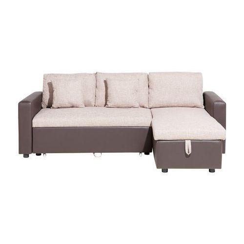 Sofa narożna lewostronna tapicerowana beżowa z funkcją spania TAMPERE