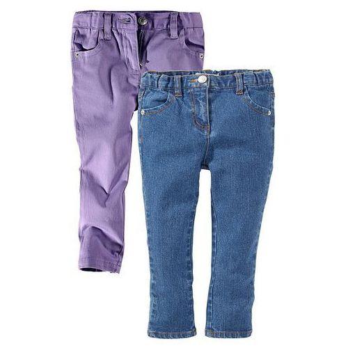 Dżinsy rurki (2 pary) bonprix kolor bzu + niebieski