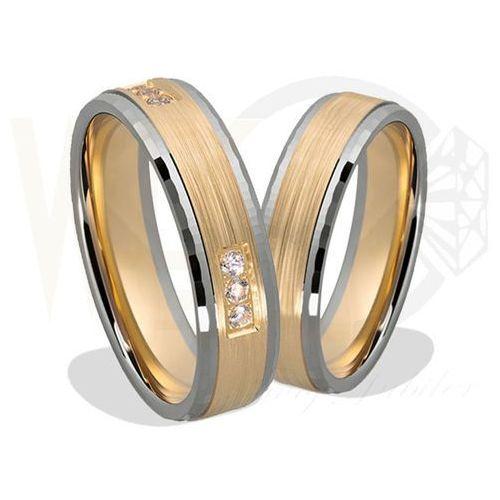 Para obrączek z żółtego i białego złota palladowego ŁN-23ZB - ok. 1,5 mm, produkt marki Łazur