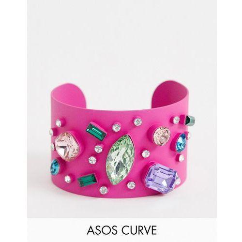 Asos curve Asos design curve exclusive cuff bracelet in colour pop design with rainbow jewels - pink