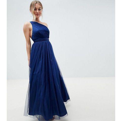 ASOS DESIGN Petite premium tulle one shoulder maxi dress - Purple