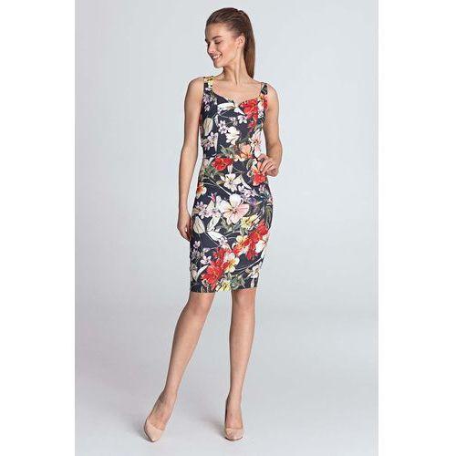 134af3fbc5 Nife Granatowa kwiecista sukienka na ramiączkach z dekoltem w serce 208