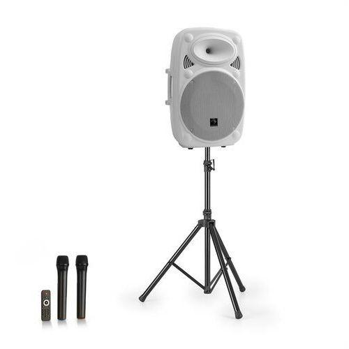 """Auna streetstar 15 przenośny zestaw pa ze statywem 15"""" głośnik niskotonowy mikrofon uhf maks. 1000 w biały"""