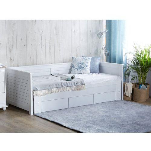 Łóżko wysuwane drewniane białe ze stelażem 90 x 200 cm CAHOR (4260624119182)