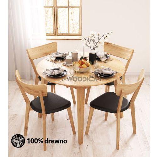 Stół dębowy okrągły 04 rozkładany 90x75x90 marki Woodica