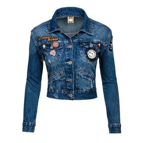 Granatowa kurtka jeansowa damska Denley 5164 z kategorii kurtki damskie
