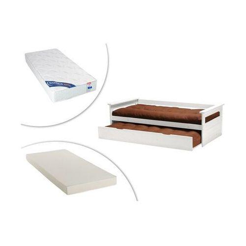Kanapa z wysuwanym łóżkiem alfonso - 90 × 190 cm - biały świerk + materac do dostawki + materac zeus 90 × 190 marki Vente-unique.pl