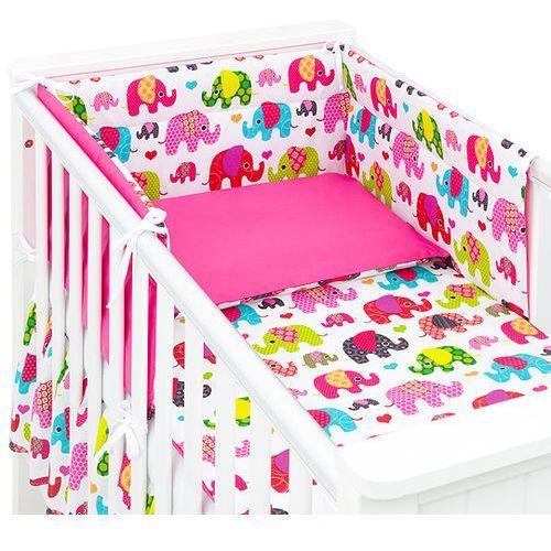 MAMO-TATO 3-el dwustronna pościel dla niemowląt Słoniaki różowe / ciemny róż do łóżeczka 60x120cm, kolor różowy
