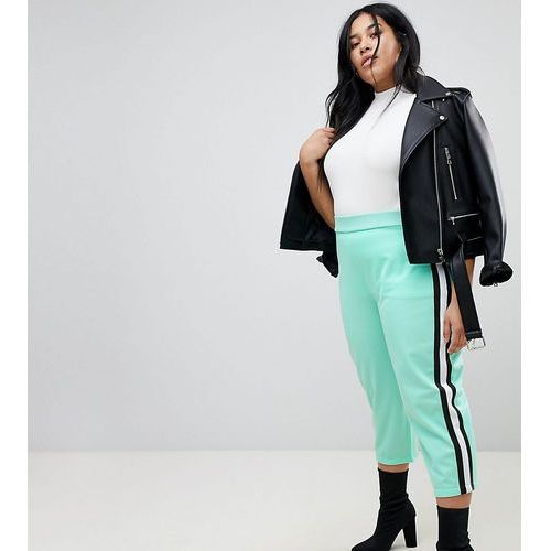 ASOS CURVE Cropped Track Pant Trousers with Side Tape - Green, kolor zielony