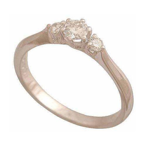 Pierścionek z białego złota z trzema brylantami. 36867