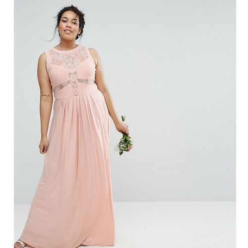 wedding lace top pleated maxi dress - pink marki Asos curve