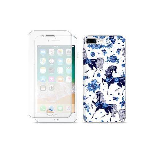 Etuo full body slim fantastic Apple iphone 8 plus - etui na telefon full body slim fantastic - folkowe niebieskie konie