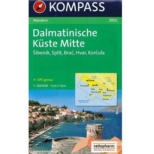 Dalmacja Wybrzeże Środkowe mapa 1:100 000 Kompass (9783850261395)