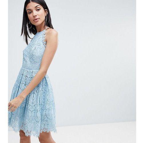 ASOS DESIGN Tall pinny prom mini dress in lace - Pink, kolor różowy