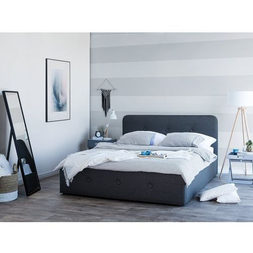 Łóżko ciemnoszare tapicerowane podnoszony pojemnik 160 x 200 cm rennes marki Beliani