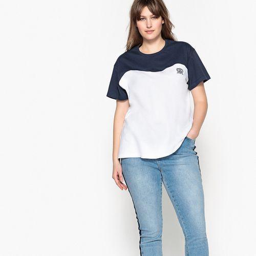Castaluna Dwukolorowa koszulka z okrągłym wycięciem szyi i krótkim rękawem