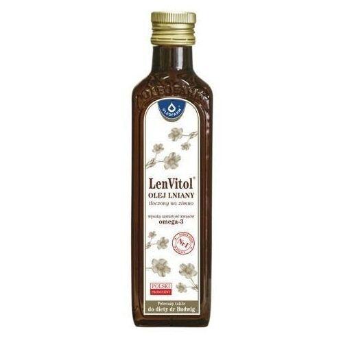 Lenvitol olej lniany tłoczony na zimno 250ml - data ważności 07-08-2020 marki Oleofarm
