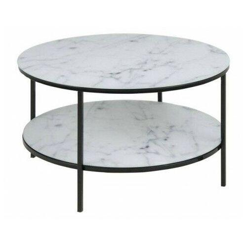 Okrągły biały stolik kawowy w stylu glamour - katris 2x marki Elior