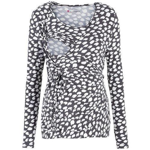 Bonprix Shirt ciążowy i do karmienia, rękawy 3/4  szaro-biały z nadrukiem