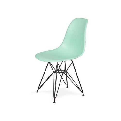 Krzesło plastikowe DSR BLACK pastelowa mięta.14 - podstawa metalowa czarna, kolor czarny