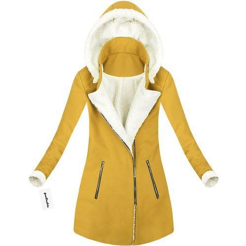 Made in italy Płaszcz zimowy z kapturem żółty (65art) - żółty