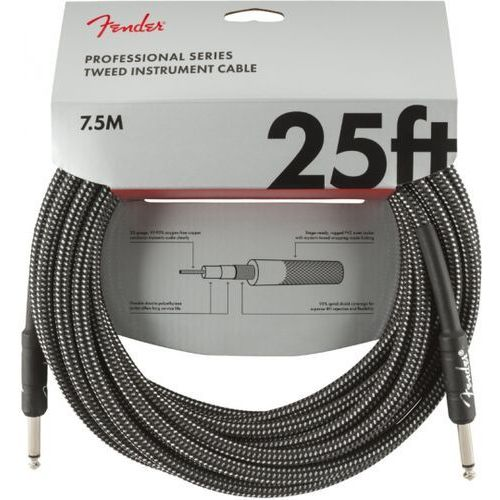 professional series instrument cable 25′ grey tweed kabel gitarowy marki Fender