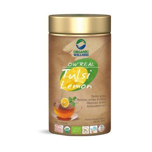 Herbata organiczna tulsi lemon w puszce 100g marki Organic wellness
